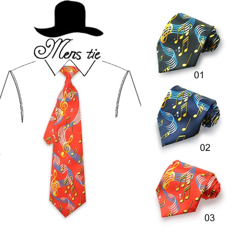 Hudební nota Pánská kravata Cravate Homme Black Navy Red Music Note Kravaty Svatební párty Vestidos Gravatas Multi Colors Luxury Tie
