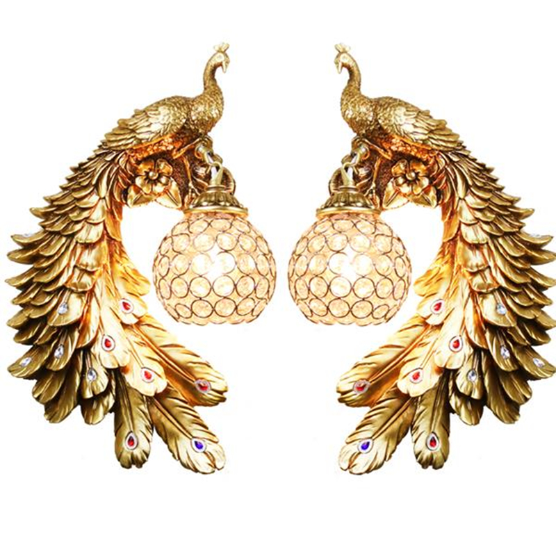 wongshi European-style Resin Peacock Crystal Wall Lamps Bedroom Bedside Living room TV Background Wall Lamp 110V 220V Wall Light european retro peacock resin wall aisle living room bedroom decoration lamp size 40 49cm ac110 240v
