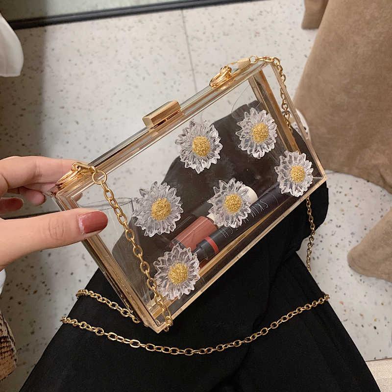 تصميم جديد زهرة الموضة شفافة الاكريليك المرأة اليومية مخلب حقيبة العشاء سلسلة محفظة الإناث Crossbody حقيبة صغيرة حقيبة يد الحقيبة