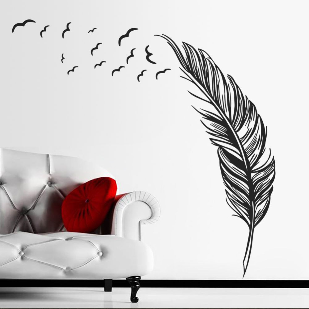 Free Shipping Creative Feather Vinyl Wall Decal Feathers Flying Birds Mural Art Wall Sticker Living Room Bedroom Home Decoration-in Wall Stickers from Home ...  sc 1 st  AliExpress.com & Free Shipping Creative Feather Vinyl Wall Decal Feathers Flying ...