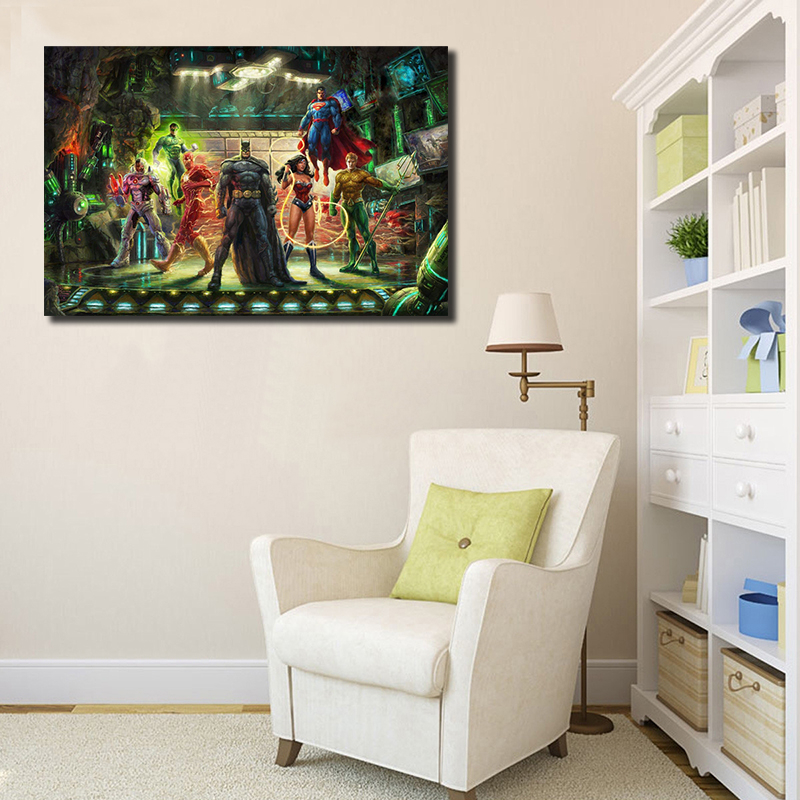Thomas Kinkade DC Hero Figure Justice League Batman Wonder Woman Superman Flash Poster Canvas Painting Wall Art Picture Decor HD