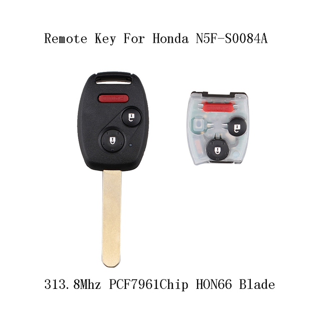 3pcs*313.8Mhz PCF7961 Replacement Chip Complete Remote Key For Honda Civic  Lx 2006