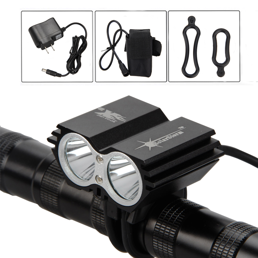 SolarStorm Torch Light 5000Lumens 2x XM-L U2 LED Bicycle Cycling Light Bike Headlamp Night Camping Outdoor Bicycle Accessories 3800 lumens cree xm l t6 5 modes led tactical flashlight torch waterproof lamp torch hunting flash light lantern for camping z93