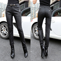 New Women Leather Pantalon Femme Chic High Waist Micro Stretch Jeggings Pencil Pants Black Leggings Trousers 1306