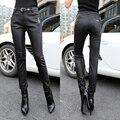 Novas Mulheres de Couro Pantalon Femme Chic Cintura Alta Micro Estiramento Jeggings Calças Lápis Preto Leggings Calças 1306
