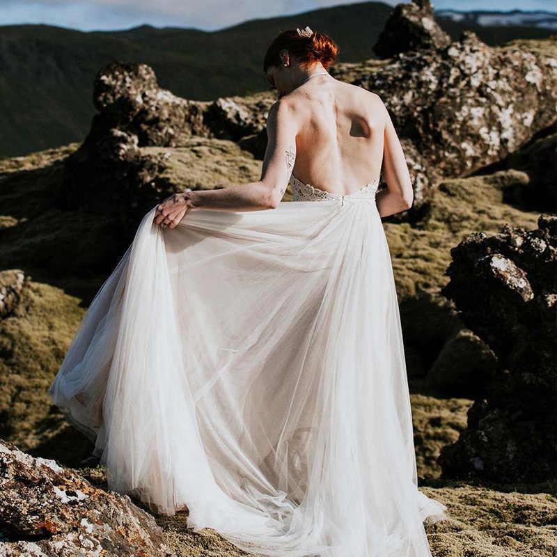 LORIE Praia Tulle Do Vestido de Casamento 2018 Vestido de noiva Lace Modest Top Boho Vestidos de Noiva Halter Off Ombro Personalizado China feito
