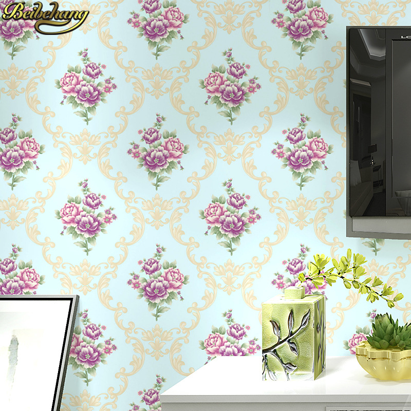 beibehang Simple vertical stripes non-woven wallpaper classic wall paper roll wall covering wall paper floral papel de parede 3D european style simple wallpaper non woven 3d wall paper home decor wall murals papier peint papel de parede para quarto jr018