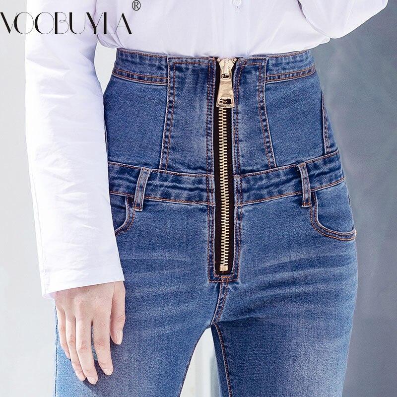 Voobuyla 2019 Summer High Waist Zipper Denim Jeans Women Elastic Plus Size Stretch Jeans Woman Washed Hip Skinny Pencil Pants