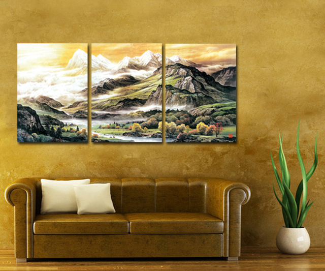Framed 3 Panel Large Chinese Traditional Style Landscape Painting Piece Canvas Wall Art Set Home