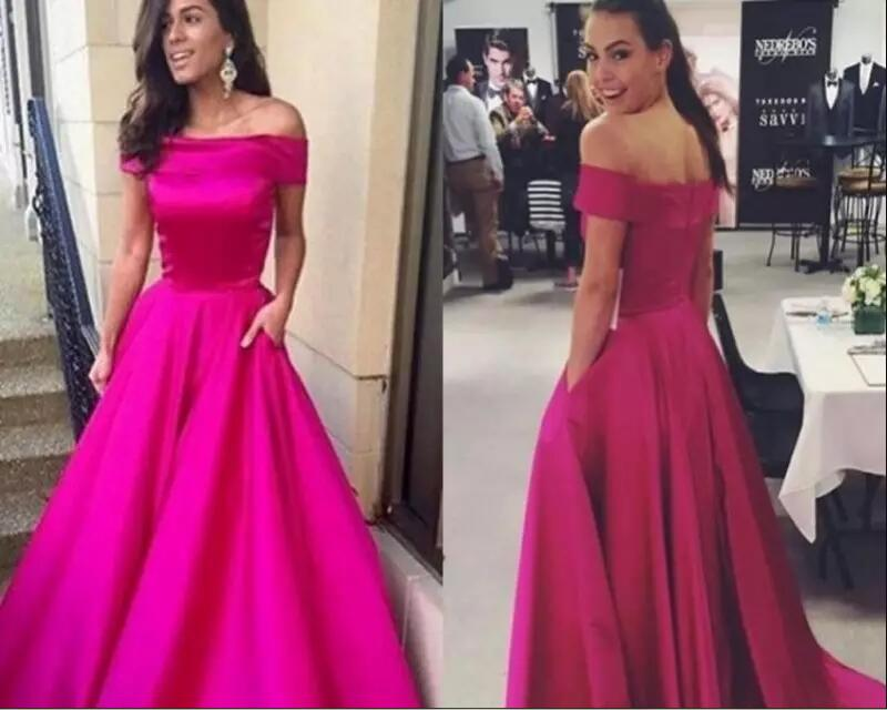 New Fuchsia Cheap Prom Dresses 2017 Off Shoulder boat neck A Line Modest Arabic marsala Evening Party gown Special occasion