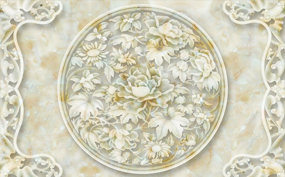 Peony marble relief custom 3d wallpaper murals 3d for 3d marble wallpaper