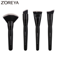 Zoreya Brand 4piece Set Super Women Foundation Make Up Brushes Set Professional Flat Contour Makeup Brush