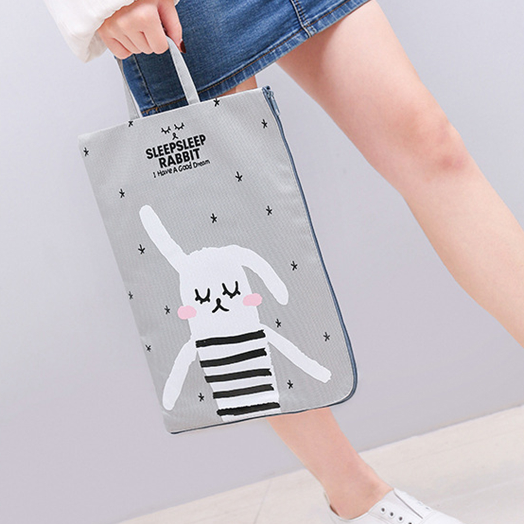 Lovely Sleeping Rabbits Style Waterproof Cloth Hand Carry File Bag Documents Pouch For Exam Paper/Homework