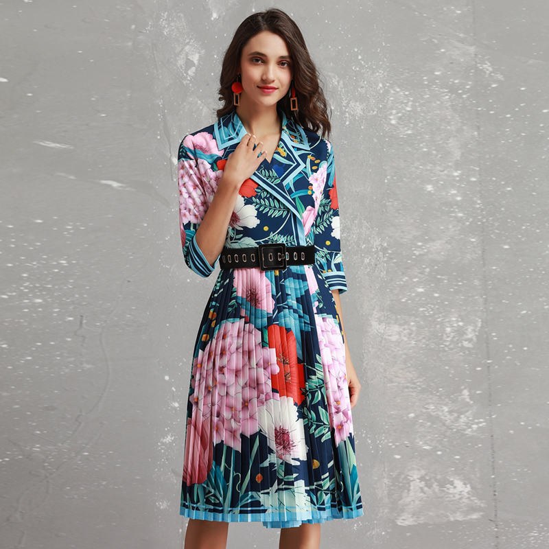 Rouge RoosaRosee Nouvelle Coloré Fleur Imprimer Turn-down col Trois Manches Trimestre Robes Femmes Piste 2019 Printemps Mince Robe ceinture