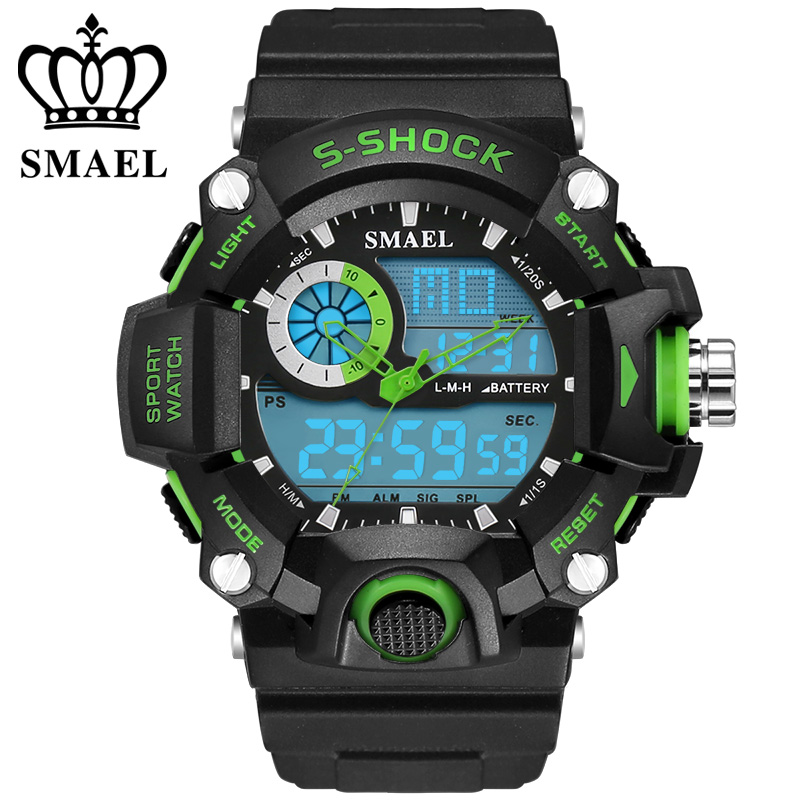 Permalink to Watch SMAEL 2137 Big Dial Shock Military Sport Watches For Men PU Watch Strap Waterproof Dual Time Digital-Watch relojes hombre