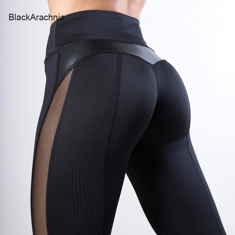 BlackArachnia Fashion PU Leather Leggings Patchwork Sexy Mesh Women Gym Fitness Workout Leggings Solid Black Sports