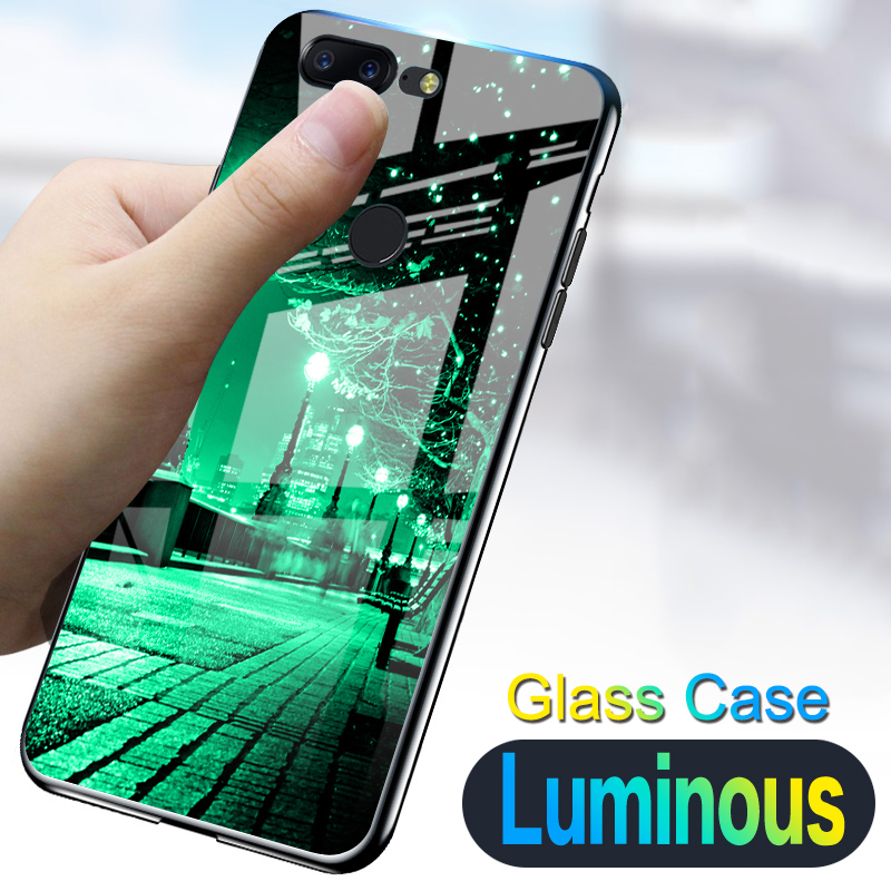 Starry night Shine luxury <font><b>Case</b></font> For <font><b>Oneplus</b></font> 5 One Plus 5 Tempered <font><b>glass</b></font> Luminous silicone cover For <font><b>Oneplus</b></font> <font><b>5T</b></font> 5 T image