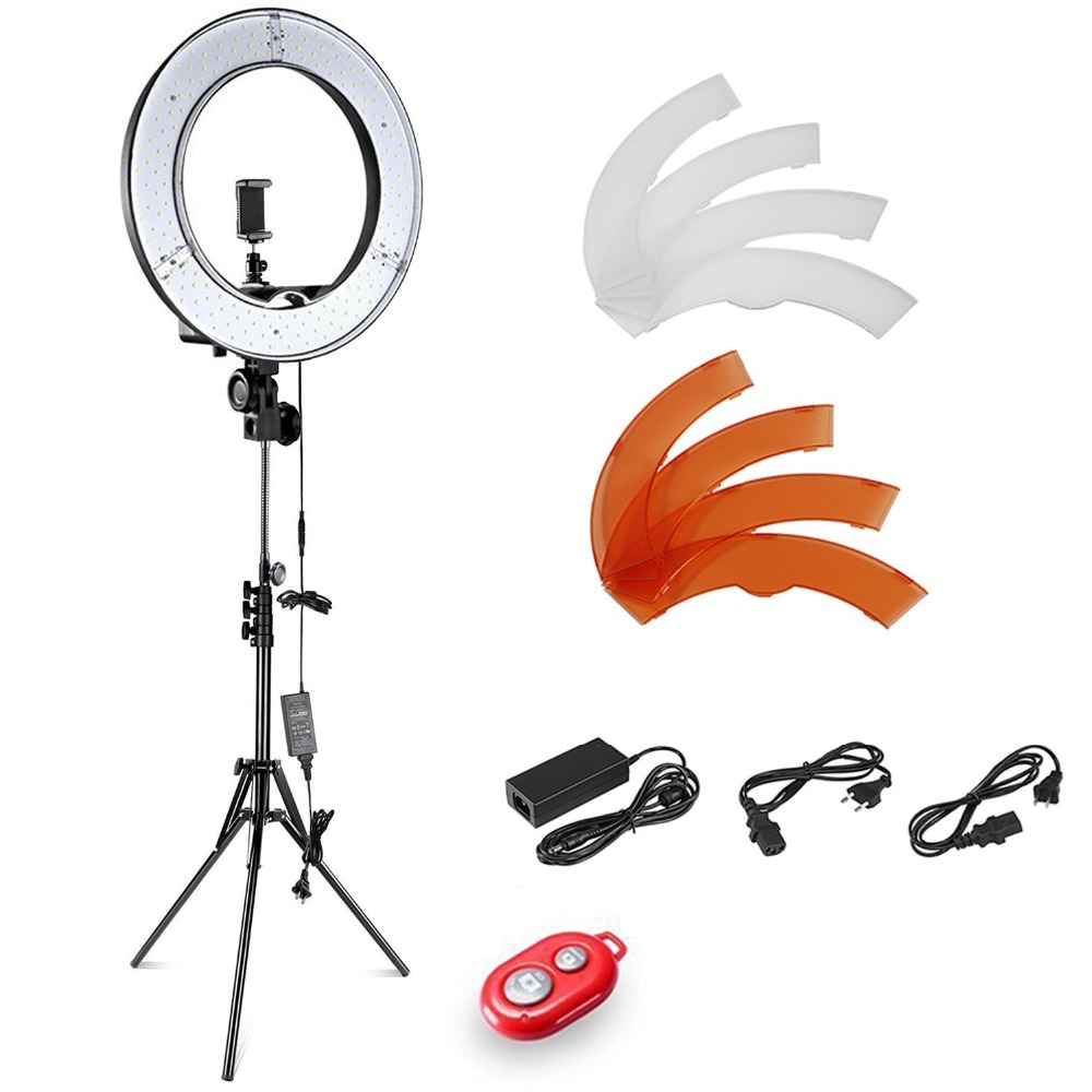 Neewer 12 pouces intérieur/14 pouces extérieur anneau de LED support 36 W 5500 K Kit avec Tube souple, filtre de couleur, adaptateur de chaussure chaude caméra