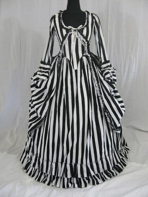 Katrina Sleepy Hollow Colonial Polonaise Striped Wedding Dress Bustle Floor Length Period Stage