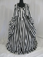 Katrina Sleepy Hollow Colonial Polonaise Striped Wedding Dress Striped Bustle Dress Floor Length Period Stage Costume