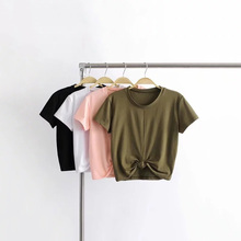 Europe and America Summer Top Women T-shirt  Sexy Tight Hem Knotted Sports Short Sleeves T-shirt Women cat embroidered drop shoulder knotted hem shirt