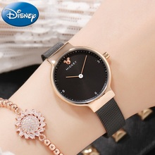 Original Mickey Women's Stainless Steel Mesh Band Japan Quartz Wrist Watch Ladies Fashion Casual Disney Watches For Girl Clocks