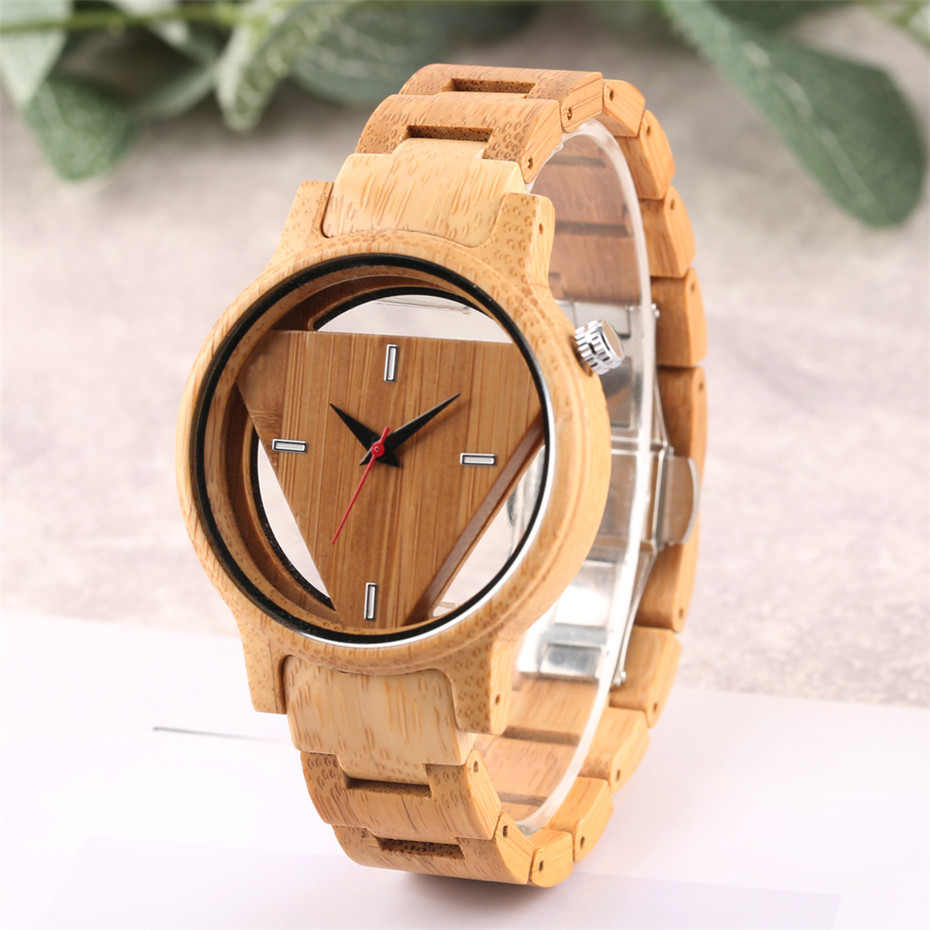 Men Wrist Watch Unique Hollow Triangle Dial Bamboo Watches Man Casual Quartz Wooden Bamboo Band Clock Male Gifts 2018 New Luxury