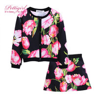 Pettigirl Girls Casual Clothing Sets Pink Flower Daughter Outfit Single Breasted Coat And Skirts Children Clothing