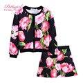 Pettigirl chicas ropa casual establece rosa flor hija traje de un solo pecho abrigo y faldas niños ropa g-dmcs908-968