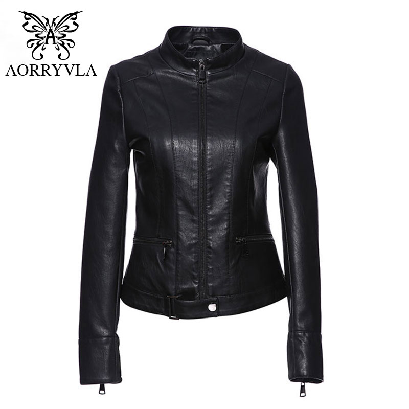 AORRYVLA New Spring Collection PU Coat Women Black Mandarin Collar Slim   Leather   Jacket Female   Leather   Jackets Top Quality