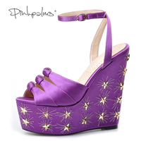 Pink Palms Women Summer New Purple Silk Platform Shoes High Heels Peep Toe Ankle Strap Shoes