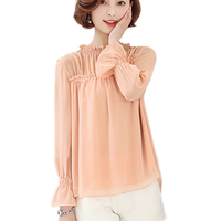 Korean Fashion Large Size Chiffon Shirt Women Blouse And Tops Stand Collar Cute Elegant Chiffon Blouse