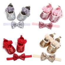 0-18 месяцев новорожденных для новорожденных девочек с блестками Bling из искусственной кожи обувь+ повязка на голову кружева галстук-бабочка Prewalker Pageant обувь для выпускного вечера