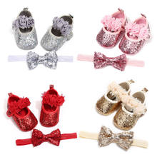 0-18M Newborn Baby Girl Sequins Bling PU Leather Shoes + Headband Lace Bow Tie Prewalker Pageant Prom Shoe(China)
