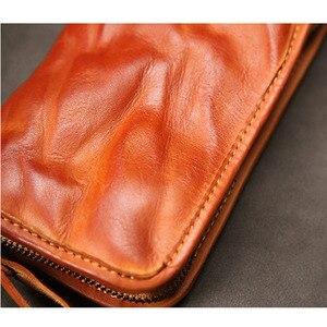 Image 5 - Aetoo Leer Mannen Lange Rits Retro Portemonnee Handgemaakte Oude Lederen Portemonnee Jeugd Grote Capaciteit Multi Card Portemonnee