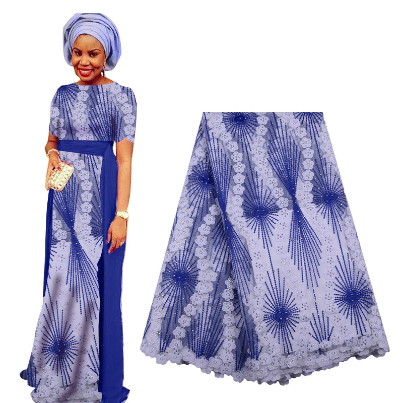 2019 Best Selling African Lace Fabric French Embroidery Tulle Lace Fabric With Beads High Quality Nigerian Lace For Woman Dress