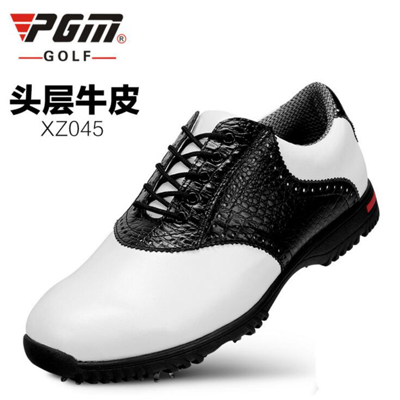 PGM Genuine leather waterproof patent men sport shoes activities nail anti-skid good grip resistant golf shoe microfiber leather breathable waterproof patent men sport shoes activities nail anti skid good grip resistant golf shoes