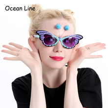 Funny Butterfly Ornaments Costume Sunglasses Novelty Glasses