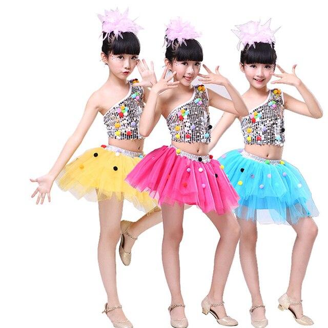 2017 Nuevo infantil Jazz danza ballet vestido chica lentejuelas tutú ...