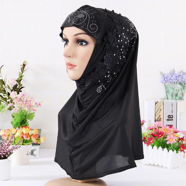 Moda aplikacje natychmiastowy hidżabu Underscarf czapki z diament muzułmaninem jednoczęściowy panie chusta hidżab długa szyja obejmujące Femme Bonnet