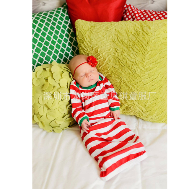 Cotton Baby Sleeping Bag Red Stripe Baby Sleepsack Autumn pijamas infantil  Newborn Baby Sleep Sack Christmas Baby Sleepwear ee43823b9