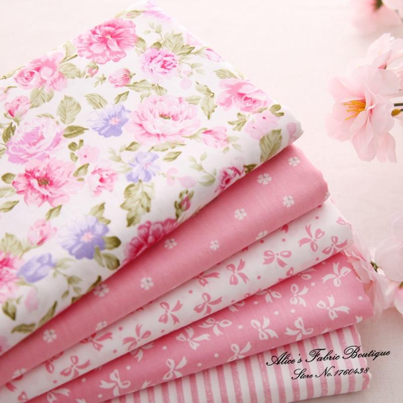 Aliexpress.com : Buy 5 pcs/ lot pink cotton diy patchwork floral ... : floral quilting fabric - Adamdwight.com