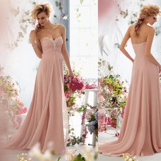 Dusty Pink Sweetheart Pleats Beading Chiffon Bridesmaid Dresses A Line  Floor Length Maid Of Honor Dresses vestido madrinha 25495c4a3a14