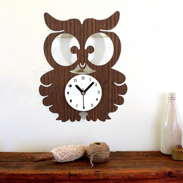 LumiParty Cute Owl Wall Clocks, Retro Wood Creative Mute Wall Clock, Kids Room Quartz Clock Home Office Decor-15