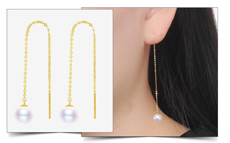Sinya Au750 18k gold dangle drop earring with 7-9 mm Natural Round high luster pearls long chain tassel design earring for women (22)