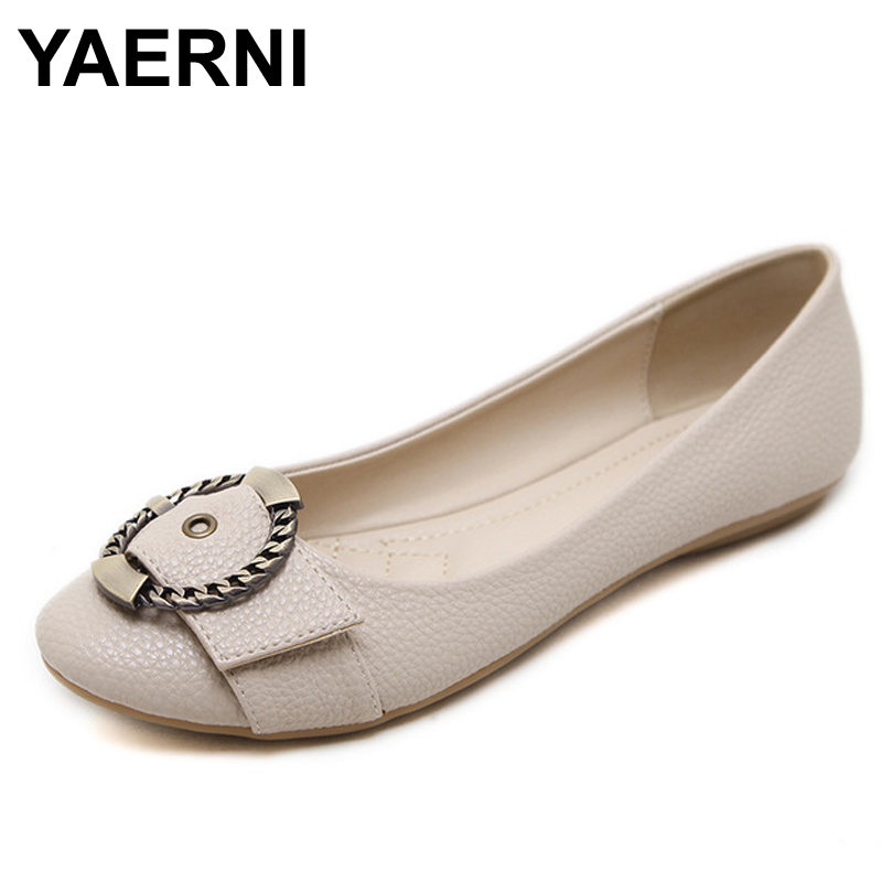 YAERNI A Handmade  ballet flat shoes women female casual shoes women flats shoes slip on leather car-styling flat shoes(China)