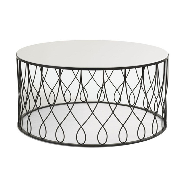 Feibo American Minimalist Wood Living Room Furniture Custom Metal - Round marble cafe table