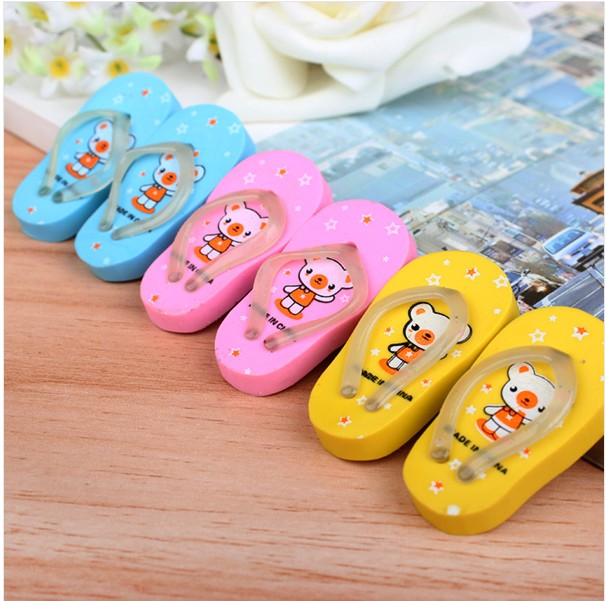 Gomas De Borrar Minion Valentine's Day Gifts/cartoon Style Slippers Eraser Flip Flops With A Pair Of Child Prizes Gift K6816