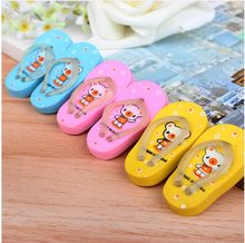 Gomas De Borrar Minion Valentine's Day Gifts/cartoon Style Slippers Eraser Flip Flops With A Pair Of Child Prizes Gift K6816(China)