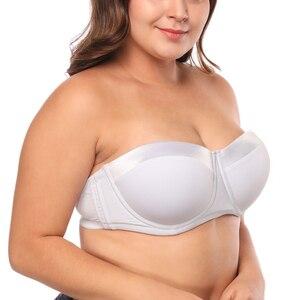 Image 2 - Women Strapless Bra Plus size for Large Bust 34 46 C/D/DD/E Half Cup Multiway Balconette Bra JM059